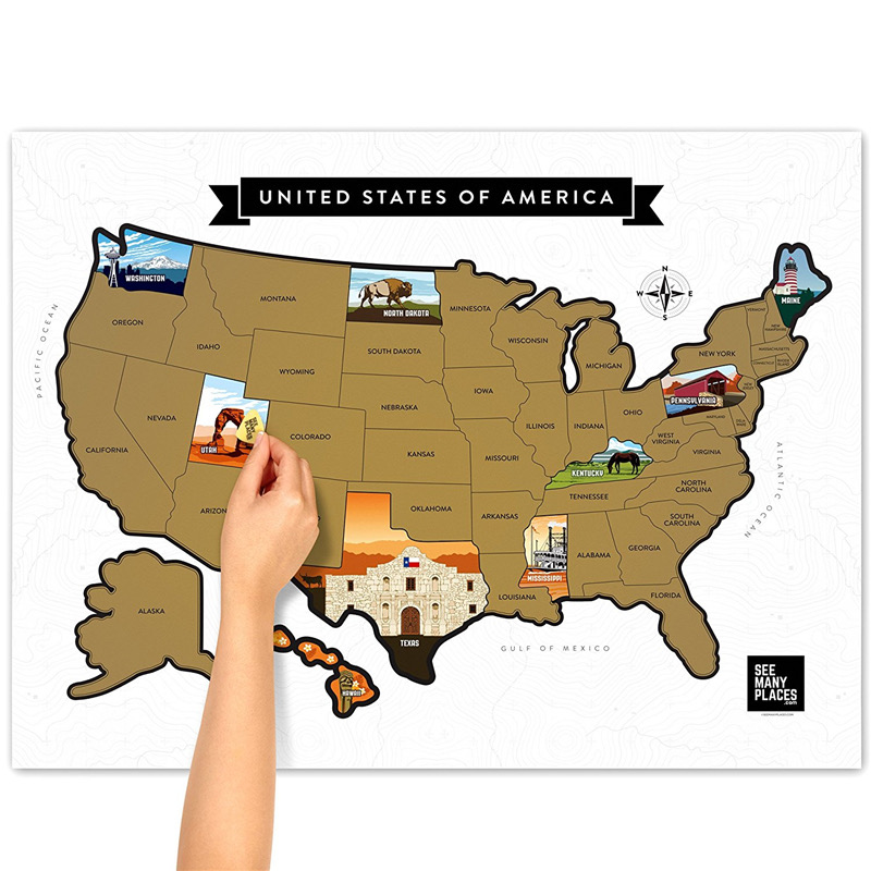 US Scratch Off Map-Drive on the Road